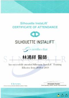 2018 Silhouette Instalift 鈴鐺線受訓證明